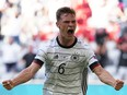 Germany's Joshua Kimmich celebrates its second goal against Portugal at Euro 2020 at the Football Arena Munich, in Munich, Germany on June 19, 2021.