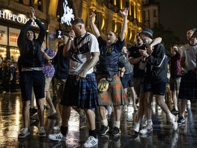 Scotland fans gather in Leicester Square after the England vs. Scotland game ended in a 0-0 draw on June 18, 2021 in London, England.