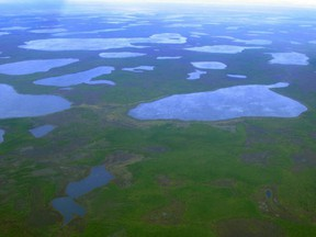 An aerial view shows thermokarst lakes outside the town of Chersky in northeast Siberia, Aug. 28, 2007.