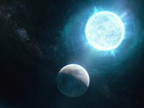 A newfound small white dwarf, called ZTF J1901+1458 and located 130 light-years from Earth, that is slightly larger than the size of the moon in diameter but 1.35 times the mass of our sun, making it both the smallest in size and largest in mass of any known white dwarf is seen in an undated illustration.