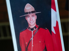A portrait of RCMP Const. Shelby Patton, who died while on duty, is seen at at RCMP 'F' Division headquarters in Regina on June 12, 2021. Patton died on duty that morning after being hit by a vehicle in Wolseley, Sask.