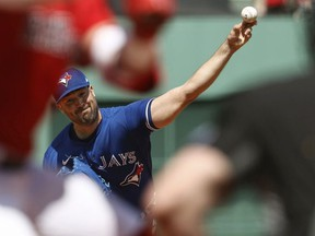 Robbie Ray of the Toronto Blue Jays pitches against the Boston Red Sox during the first inning of the first game of a doubleheader at Fenway Park on July 28, 2021 in Boston, Massachusetts.