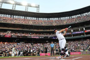 Pete Alonso #20 of the New York Mets bats during the 2021 T-Mobile Home Run Derby at Coors Field on July 12, 2021 in Denver, Colorado.