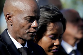 Haiti's President Jovenel Moise and first lady Martine attend a ceremony at a memorial for the tenth anniversary of the January 12, 2010 earthquake, in Titanyen, Haiti, January 12, 2020.