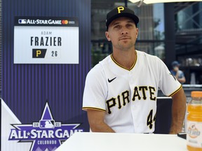 Adam Frazier of the Pittsburgh Pirates speaks to the media during the All-Star Workout Day at Coors Field on July 12, 2021 in Denver.