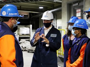 Prime Minister Justin Trudeau tours the Algoma Steel plant in Sault Ste. Marie, Ont. July 5, 2021.