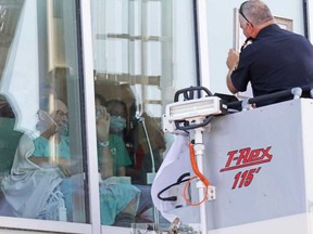 Barrie-area firefighters paid trubute Monday to ailing retired firefighter, Grant McCulloch, 66, at Royal Victoria Hospital. Doctors have told McCulloch he only has days to live.