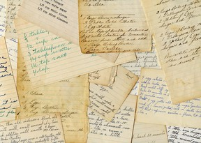 A collage of antique and handwritten recipes.