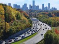 Urban freeway with fall colors, Don Valley Parkway in Toronto
