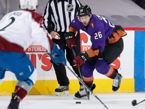 Michael Chaput of the Arizona Coyotes skates with the puck against the Colorado Avalanche during the first period of the NHL game at Gila River Arena on Feb. 27, 2021 in Glendale, Ariz.