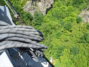 Detail of rope ready for a bungee jump from a 230-feet high bridge