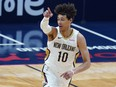 Pelicans centre Jaxson Hayes reacts after his slam dunk in the first half of an NBA game against the Kings in New Orleans, April 12, 2021.