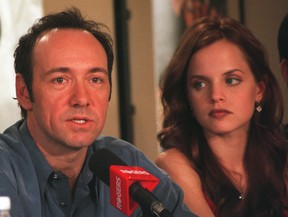 """Actors Kevin Spacey and Mena Suvari attend the press conference for the movie, """"American Beauty,"""" at the Toronto International Film Festival, Sept. 12, 1999."""