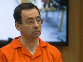Former Michigan State University and USA Gymnastics doctor Larry Nassar appears in court for his final sentencing phase in Eaton County Circuit Court on Feb. 5, 2018 in Charlotte, Mich.