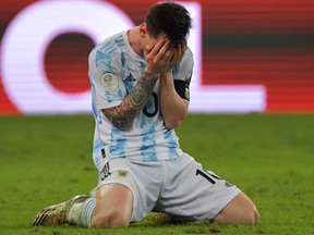 Argentina's Lionel Messi celebrates after winning the Conmebol 2021 Copa at Maracana Stadium in Rio de Janeiro, Brazil, on July 10, 2021.