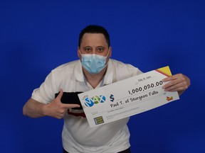 Paul Andre Theoret of Sturgeon Falls won $1 million plus another $20 in a Maxmillions prize from the June 15, 2021 Lotto Max draw.