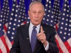 Michael Bloomberg speaks by video feed during the final night of the 2020 Democratic National Convention August 20, 2020.