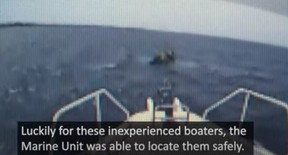 A screengrab of video released by York Regional Police of a rescue on Lake Simcoe on July 24, 2021.