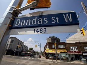 A Dundas Street West sign is pictured in Toronto, Wednesday, June 10, 2020.