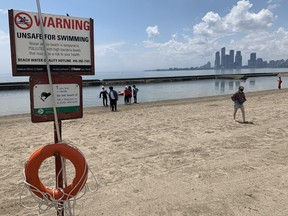 Sunnyside Beach, in the city's west end, was among of two of Toronto's 11 public beaches deemed unsafe for swimming because of high levels of E.coli. on Canada Day, Thursday, July 1, 2021.