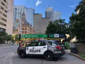 The scene outside the City Hall parking garage where Toronto Police officer Const. Jeffrey Northrup was killed on July 2.