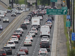 Traffic as packed in the eastbound lanes of the Gardiner at around 11:30 a.m. Sunday. City Councillor Mike Ford is calling on the city to ease congestion by ending ActiveTO which requires road closures.
