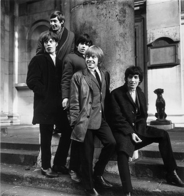 (FILE PHOTO) The Rolling Stones, formed in 1962, released their first album fifty years ago on April 16, 1964 in the UK and May 30, 1964 in the US. 17th January 1964:  British rock group the Rolling Stones, (from left) Charlie Watts, Mick Jagger, Keith Richards, Brian Jones and Bill Wyman, outside St George's Church, Hanover Square, London.  (Photo by Terry Disney/Express/Getty Images)