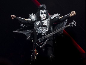 Gene Simmons of KISS performing their End Of The Road World Tour at Canadian Tire Centre in Ottawa on April 3, 2019.