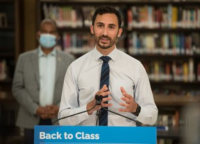 Ontario Minister of Education Stephen Lecce makes an announcement at St. Robert Catholic High School in Toronto, on Wednesday, August 4, 2021.