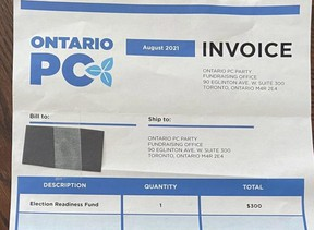 A fundraising letter received in the mail from the Ontario Progressive Conservative Party is shown in North Bay, Ont.