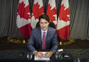 Prime Minister Justin Trudeau takes part in a virtual G7 meeting on the crisis in Afghanistan from Hamilton, Ont., on Tuesday, Aug 24, 2021.