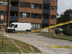 More than 100 residents at 2111 Roche Court in Mississauga had to be evacuated Aug. 29, 2021 because of storm-related flooding.
