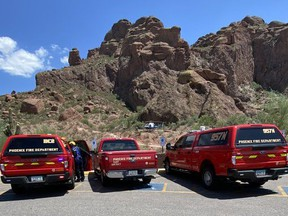 Technical Rescue Teams on scene at Camelback Mountain for reports of a missing hiker.