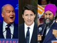 This combination of pictures created on Aug. 16, 2021 shows, from left to right, Conservative Leader Erin OToole, Prime Minister Justin Trudeau and NDP Leader Jagmeet Singh.