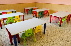 empty classroom of a school due to the flu epidemic