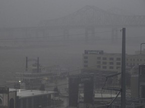 Rain batters downtown New Orleans after Hurricane Ida made landfall in Port Fourchon, 100 miles (160 km) south of New Orleans on Sunday, Aug. 29, 2021.
