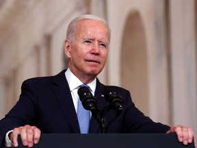U.S. President Joe Biden delivers remarks on the end of the war in Afghanistan in the State Dining Room at the White House in Washington, D.C., Tuesday, Aug. 31, 2021.