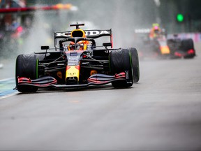 Max Verstappen of Red Bull Racing and The Netherlands > qualifying ahead of the F1 Grand Prix of Belgium at Circuit de Spa-Francorchamps on Aug. 28, 2021 in Spa, Belgium.