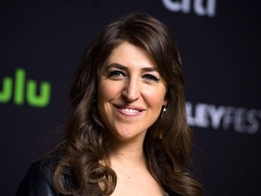 """In this file photo taken on March 16, 2016 actress Mayim Bialik attends the The 33rd annual PaleyFest Los Angeles hosted by The Paley Center for Media, celebrating """"The Big Bang Theory"""", in Hollywood, California."""