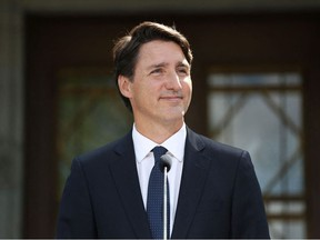 In this file photo taken on August 15, 2021 Canada's Prime Minister Justin Trudeau holds a news conference at Rideau Hall after asking Governor General Mary Simon to dissolve Parliament.