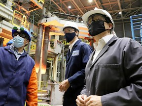 Canada's Prime Minister Justin Trudeau tours the Algoma Steel plant in Sault Ste. Marie, Ontario, Canada July 5, 2021.