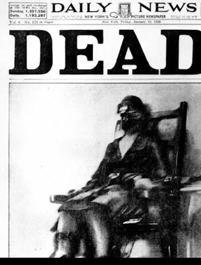 Ruth Snyder dies in the electric chair in one of the most shocking Page Ones ever. The U.S. death machine has now slowed to a trickle.
