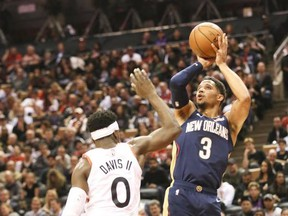 Toronto Raptors guard Terence Davis (0) and New Orleans Pelicans guard Josh Hart (3) on Tuesday October 22, 2019.The Toronto Raptors host the New Orleans Pelicans at the Scotiabank Arena in Toronto.