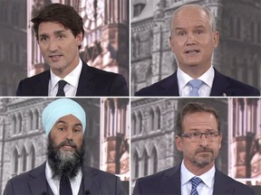 From left, top row: Liberal Leader Justin Trudeau, Conservative Leader Erin O'Toole, NDP Leader Jagmeet Singh and Bloc Quebecois Leader Yves-Francois Blanchet during the French-language leaders debate in Montreal on Thursday. Sept. 2.