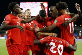 Canada celebrates after scoring a goal during a 2022 World Cup Qualifying match against El Salvador at BMO Field in September. Getty Images