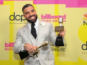 Drake poses backstage for the 2021 Billboard Music Awards, broadcast on May 23, 2021 at Microsoft Theater in Los Angeles, California.