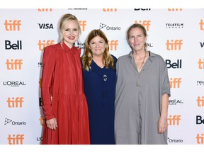 Left to right: Alison Pill, Mare Winningham, and Miriam Toews attend the
