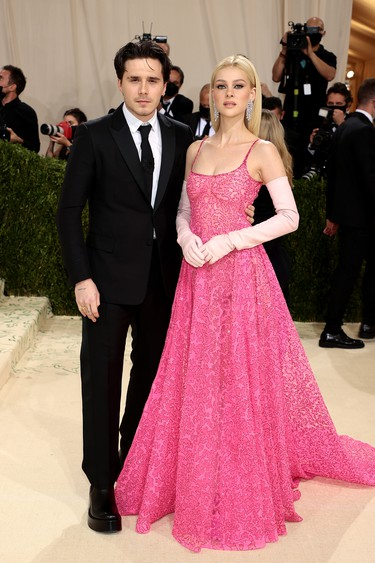 Brooklyn Beckham and  Nicola Peltz attend The 2021 Met Gala Celebrating In America: A Lexicon Of Fashion at Metropolitan Museum of Art on September 13, 2021 in New York City. (Photo by Dimitrios Kambouris/Getty Images for The Met Museum/Vogue )