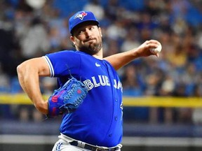 Robbie Ray of the Toronto Blue Jays delivers a pitch to the Tampa Bay Rays in the second inning at Tropicana Field on September 20, 2021 in St Petersburg, Florida.