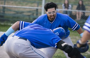 Justin Marra hit one of two grand slams for the Leafs on Friday night as they clinched hom-field advantage in the first round of the playoffs.